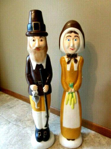 "Vtg Union ""Don Featherstone"" Lighted Thanksgiving Pilgrim Blow Molds- Nice Set!"
