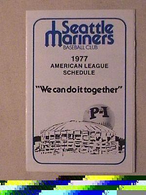 1977 Inaugural Season Seattle Mariners Pocket Schedule  Sked Mlb First