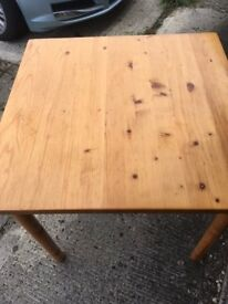 Pine square table and 3 chairs