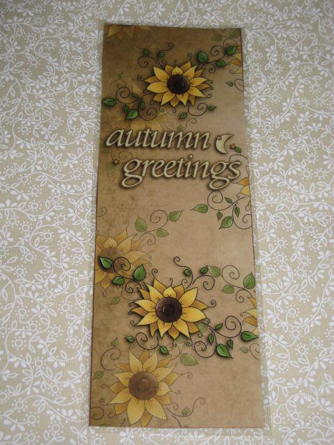 PRIMITIVE AUTUMN GREETINGS WITH SUNFLOWERS LAMINATED BOOkMARK (CD)