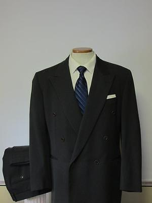PAL ZILERI ITALY DOUBLE BREASTED WOOL SUIT 42R 32X31 DARK GRAY SHARP!