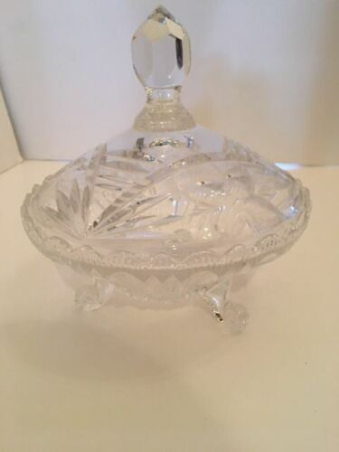 Beautiful Crystal Covered Candy Dish raised / footed  7 Inch Round  Vintage