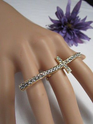 (New Women Gold Ring Long Cross Metal Adjustable Religious Fashion Rhinestones)
