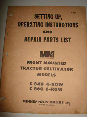 Minneapolis Moline Front Mounted Plow Tractor C840 C860 46 Row Farming Manual