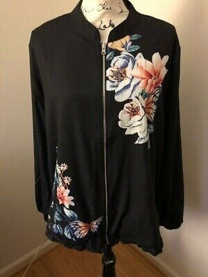 NWT $139 Chico's Reversible Striped to Butterfly Garden-Print Bomber Jacket.Sz.4 Garden Reversible Jacket