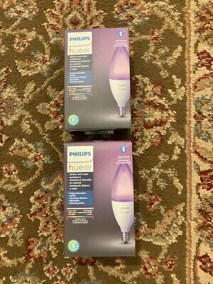 Two (2) Philips Hue White & Color Ambiance E12 LED 40W Equiv Candle Smart Bulb