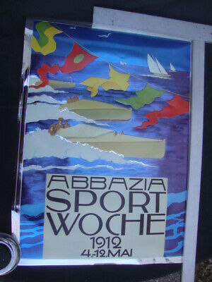 Abbazia sport Woche 1912 Sail Boat racing Poster Embosograph Decor Graphic Art