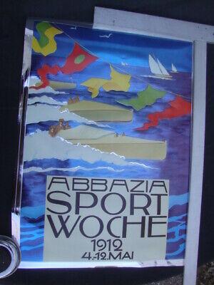 Abbazia sport Woche 1912 Sail Boat racing Poster Embosograph Decor Graphic Art