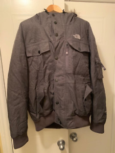North Face Gotham Heather Grey Bomber Parka Winter Jacket