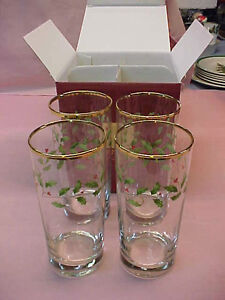 Set of 4 Lenox Holiday Hiball Highball Glasses 6 1/4
