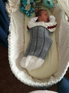 Knitted Sock Monkey Baby Snuggler - a perfect baby gift!