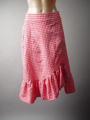 Plaid Check Gingham Red White Folk Western High Waist Ruffle 287 mv Skirt S M L](Red Gingham Skirt)