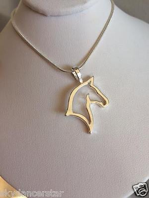 SILVER HORSE PONY HEAD SILHOUETTE PENDANT NECKLACE SNAKE CHAIN CAT ResQ