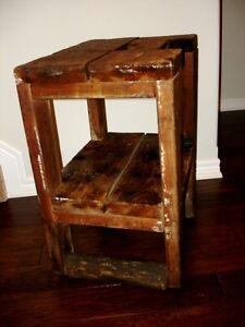 INDUSTRIAL CHIC early PRIMITIVE farm barn WORK TABLE with ROLLER