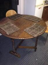Small timber antique dining table with handy fold down sides Mosman Mosman Area Preview