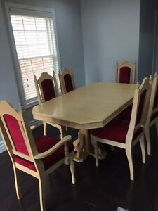 Dinning Table custom built with set of glass cabinet with hutch