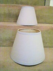 2 LAMPSHADES IN PALE VIOLET