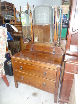 oak dressing table with triple mirror