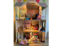 Furnished Dolls House, Barbies & Scooter