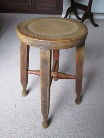 VINTAGE EARLY 20TH CENTURY SOLID WOOD STOOL-SQUARED LEGS-BULB FEET-INDENTED SEAT-COLLECT OSSETT.
