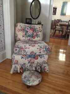 2 high quality Clayton Marcus chairs with a foot stool