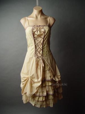 Corset Petticoat Victorian Western Prairie Steampunk Bustle 208 mv Dress S M L - Steampunk Dresses