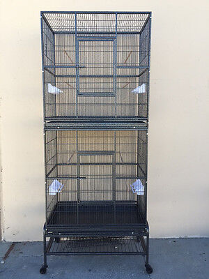 LARGE Double Stackable Cockatiel Aviary Canary Budgie Sugar Glider Bird Cage 385