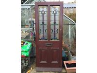 Early 1900's original Stained Glass Wooden Front Door