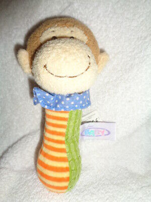 "Monkey baby toy Mary Meyer plush colorful 7"" Mango hand rattle squeak squeaker"