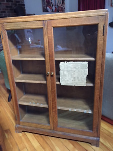 Solid oak vintage bookshelf with glass doors