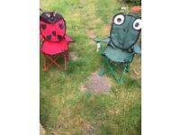 2 childrens foldaway chairs for the garden