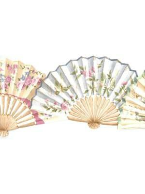 ORIENTAL SCULPTURED FANS- PINKS, BLUES, AND GREENS WALLPAPER BORDER Oriental Wallpaper Border