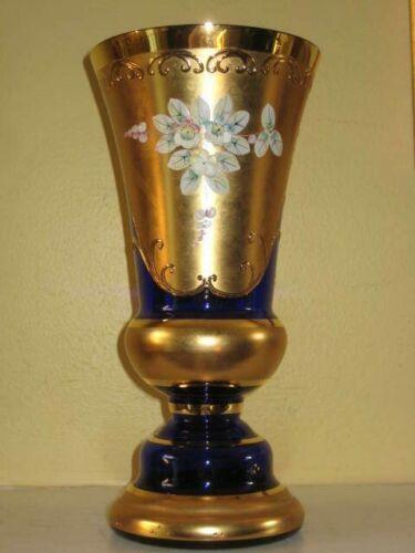 """Czech Bohemian VASE Egermann Gold/Cobalt Blue Crystal/Gold Leaf/Enameled 10"""""""