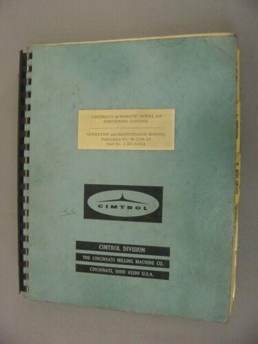 Cincinnati Milling 220 Acramatic Positioning Control Instruction Manual – 1965