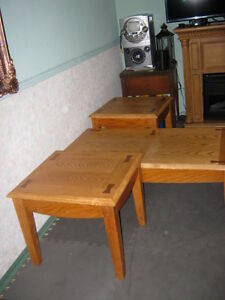 Honey Oak Coffee Table and Two End Tables