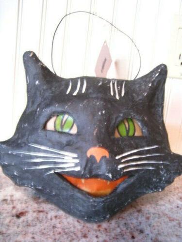 New Bethany Lowe Vintage Style Halloween Happy Black Cat Bucket Paper Mache