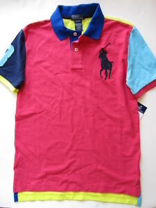 NWT Ralph Lauren Boys Big Pony Colorblocked Polo Size 10-12