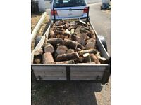Firewood by the 6 x 4 ft trailer load, logged for fires or multi fuel burners, free delivery
