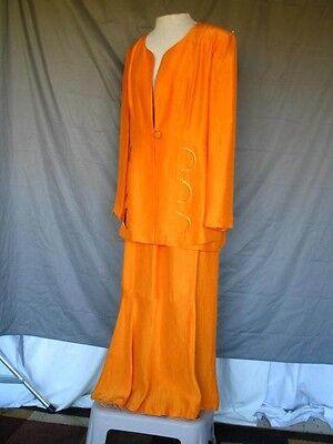 20s Style Suit (1980's Orange Satin 20's Style Drop Waist Suit and Skirt)