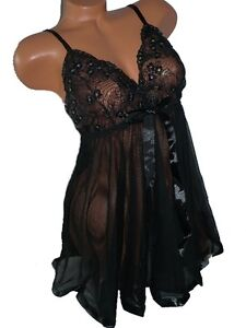 Plus Size Sequin Trim Lace and Mesh Babydoll 3xl/4xl