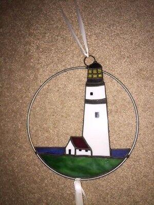 (Lighthouse Stained Glass Suncatcher)