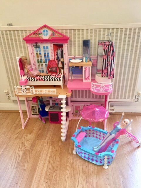 Pink Barbie Dolls House Includes Elsa Anna Features Bedroom
