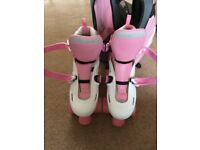 SFR Storm Pink and White Adjustable Roller Skates size UK 3 to 6 with pink and grey skate bag