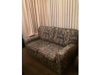 Two seater Ikea settee, very good condition, attractive green multi fabric.