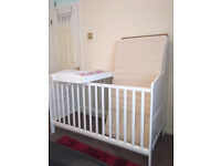 COT BED WITH MATTRESS AND A COT UP CHANGER - WHITE