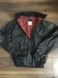 Fred Perry waxed leather Harrington jacket coat