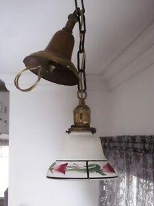 Belle Lumière Suspendu Antique avec Globe Peint à la Main