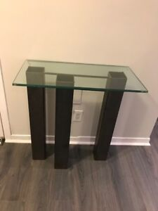 """Table, accent, steel & glass, hand forged, 28""""W X 14""""D X 28.5""""H."""
