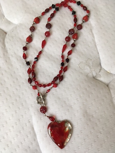 Red Beaded with Heart Pendant Necklace- Banff