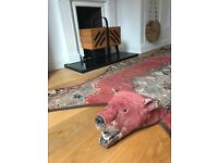 Handmade Faux Bear Rug / Red Oriental Persian Tabriz Rug